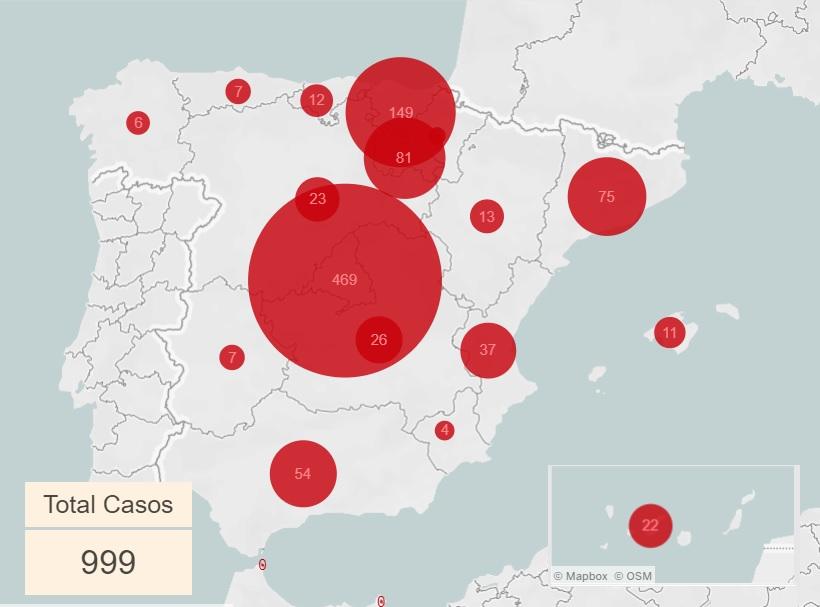 Mapa expansión Covid-19 a 09-03-2020
